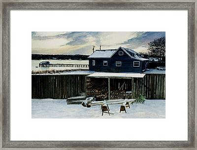 Horses And Woodshed Framed Print by Perry Woodfin