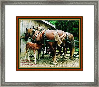 Horses At The Barn H A With Decorative Ornate Printed Frame. Framed Print by Gert J Rheeders