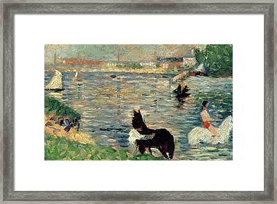 Horses In A River Framed Print by Georges Pierre Seurat