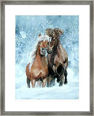 Horses In Winter Framed Print by Virginia Sonntag