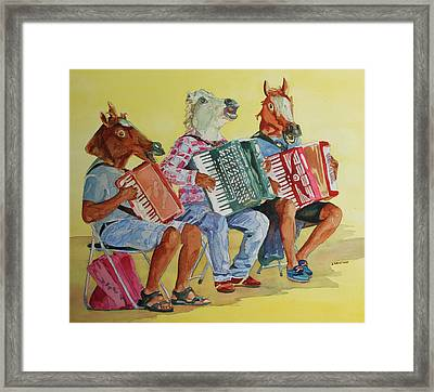 Horsing Around With Accordions Framed Print by Jenny Armitage