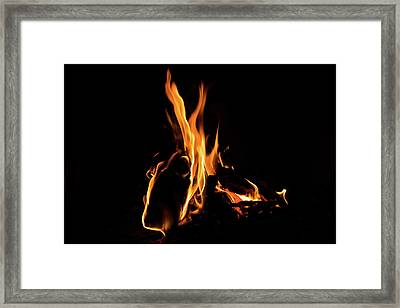 Hot - Cosy Fire In The Hearth Framed Print by Georgia Mizuleva