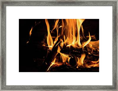 Hot - Crackling Blaze In A Fireplace Framed Print by Georgia Mizuleva