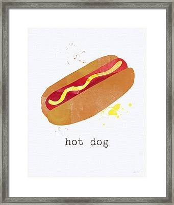 Hot Dog Framed Print by Linda Woods
