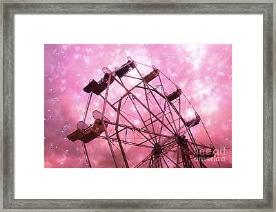 Hot Pink Carnival Ferris Wheel Stars And Hearts - Baby Girl Nursery Hot Pink Ferris Wheel Decor Framed Print by Kathy Fornal