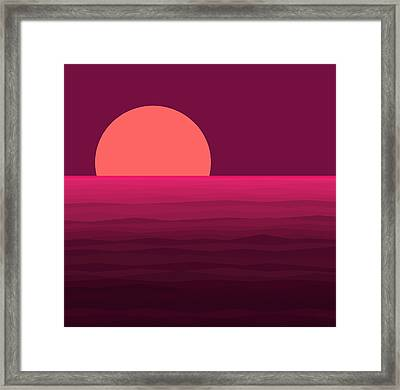 Hot Pink Sunset Framed Print by Val Arie