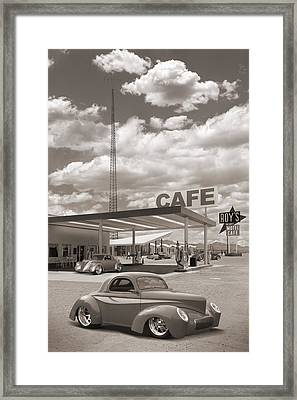 Hot Rods At Roy's Gas Station Sepia Framed Print by Mike McGlothlen