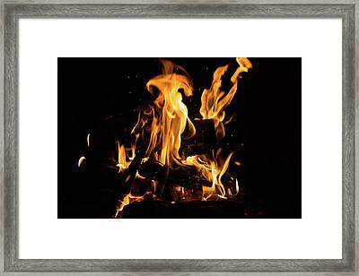 Hot Sparks - Comfort And Warmth By The Fireplace Framed Print by Georgia Mizuleva