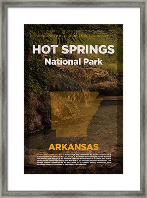 Hot Springs National Park In Arkansas Travel Poster Series Of National Parks Number 31 Framed Print by Design Turnpike