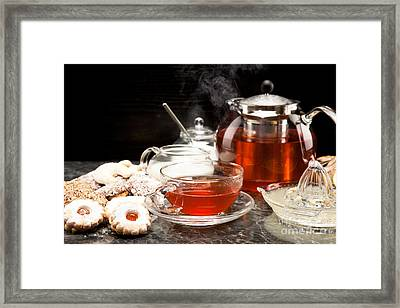 Hot Steaming Tea With Christmas Biscuits Framed Print by Wolfgang Steiner