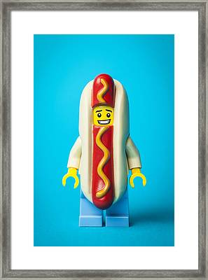 Hotdog Dude Framed Print by Samuel Whitton