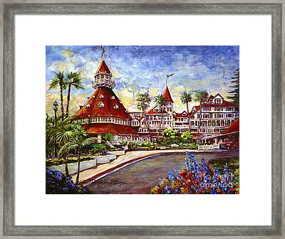Hotel Del With Flowers Framed Print by Glenn McNary