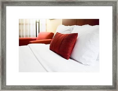 Hotel Room Bed Pillows Framed Print by Paul Velgos