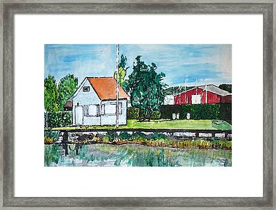 House By The Lake Framed Print by Monica Engeler