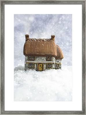 House In Snow Framed Print by Amanda Elwell