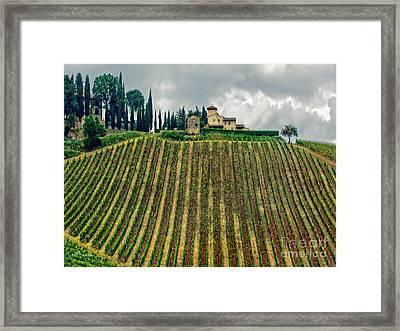 House On A Hill-tuscany Framed Print by Jennie Breeze