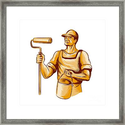 House Painter Holding Paint Roller Etching Framed Print by Aloysius Patrimonio
