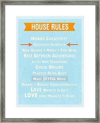 House Rules-contemporary Framed Print by Linda Woods