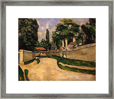 Houses Along A Road Framed Print by Paul Cezanne