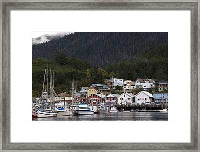 Houses Line Ketchikan Harbor Framed Print by Melissa Farlow