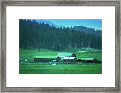 Houses On The Hill, South Dakota Framed Print by Art Spectrum