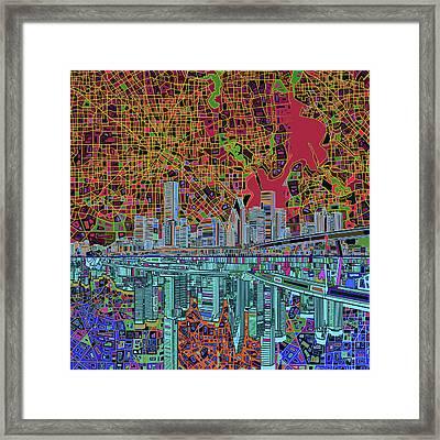 Houston Skyline Abstract 3 Framed Print by Bekim Art