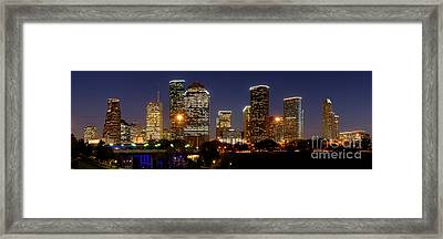 Houston Skyline At Night Framed Print by Jon Holiday