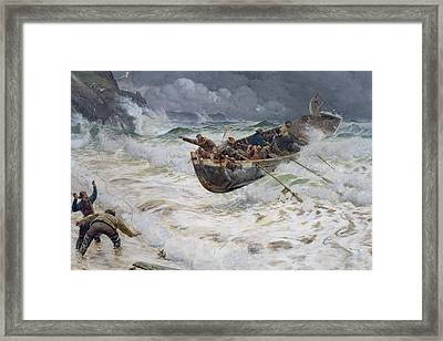 How The Boat Came Home Framed Print by  Charles Napier Hemy