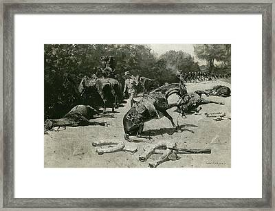 How The Horses Died For Their Country At Santiago, 1899 Framed Print by Frederic Remington
