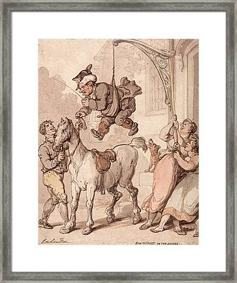 How To Vault In The Saddle Framed Print by Thomas Rowlandson