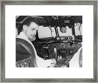 Howard Hughes Seated In The Cockpit Twa Framed Print by Everett