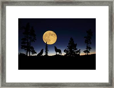 Howling At The Moon Framed Print by Shane Bechler