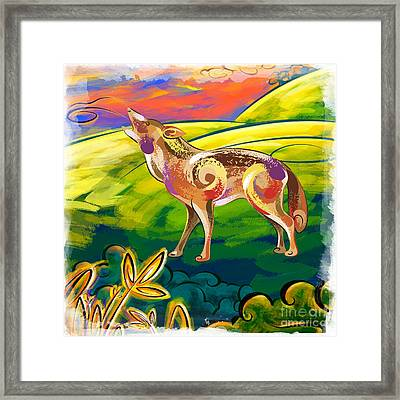 Howling Coyote  Framed Print by Bedros Awak