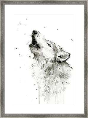 Howling Wolf Watercolor Framed Print by Olga Shvartsur