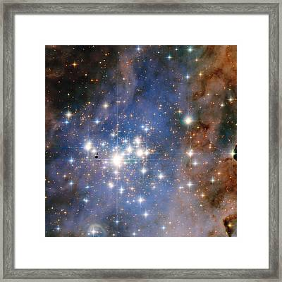 Hubble Unveils A Tapestry Of Dazzling Diamond-like Stars Framed Print by Nasa