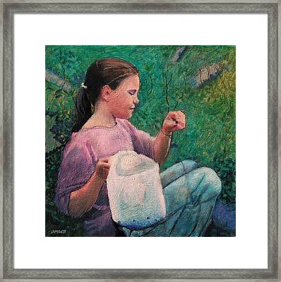 Huckleberry Picker Framed Print by Robert Bissett