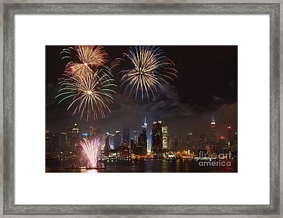 Hudson River Fireworks Iv Framed Print by Clarence Holmes