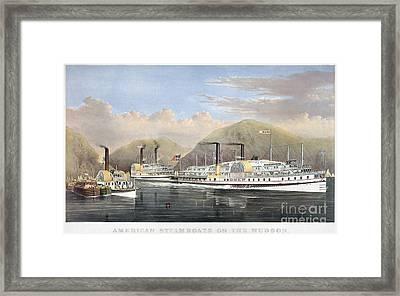 Hudson River Steamships Framed Print by Granger