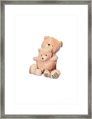 Hugging Bears Cut Out Framed Print by Linda Phelps