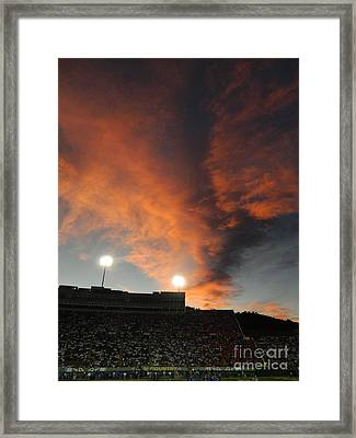 Hughes Stadium Sunset Framed Print by Sara  Mayer