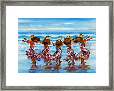 Hula Dancers 2 Framed Print by John YATO