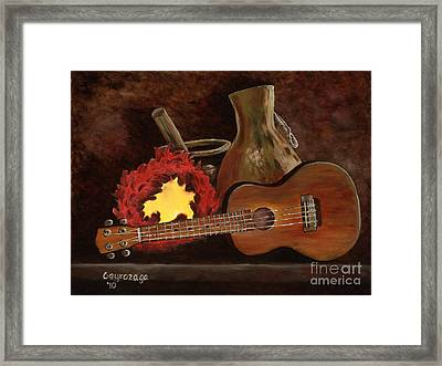 Hula Implements Framed Print by Larry Geyrozaga