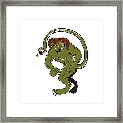 Humbaba Punching Cartoon Framed Print by Aloysius Patrimonio