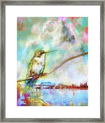 Hummingbird By The Chattanooga Riverfront Framed Print by Steven Llorca