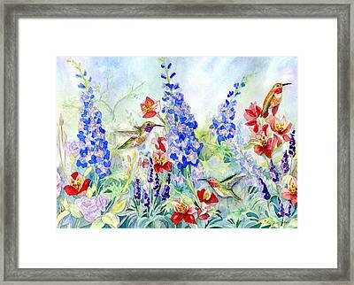 Hummingbird Garden In Spring Framed Print by Audrey Jeanne Roberts