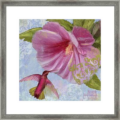 Hummingbird Hibiscus I Framed Print by Mindy Sommers