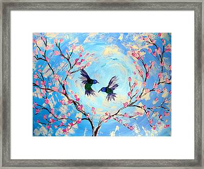 Hummingbirds In Cherry Blossom Framed Print by Cathy Jacobs