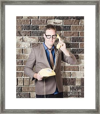 Humorous Male Nerd Chatting Business On Phone Framed Print by Jorgo Photography - Wall Art Gallery