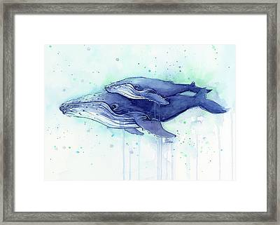 Humpback Whale Mom And Baby Watercolor Framed Print by Olga Shvartsur