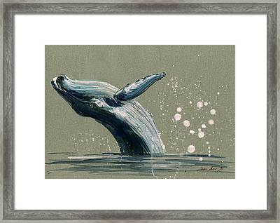 Humpback Whale Swimming Framed Print by Juan  Bosco